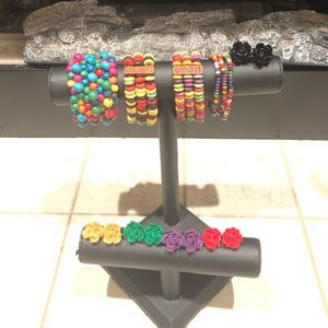 Bundle of fun colorful bracelets and earrings